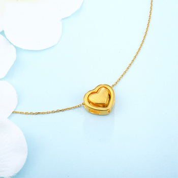 XXX 24K Pure Gold Necklace Real AU 999 Solid Gold Chain Trendy Nice Beautiful Double Hearts Upscale Party Jewelry Hot Sell New 4