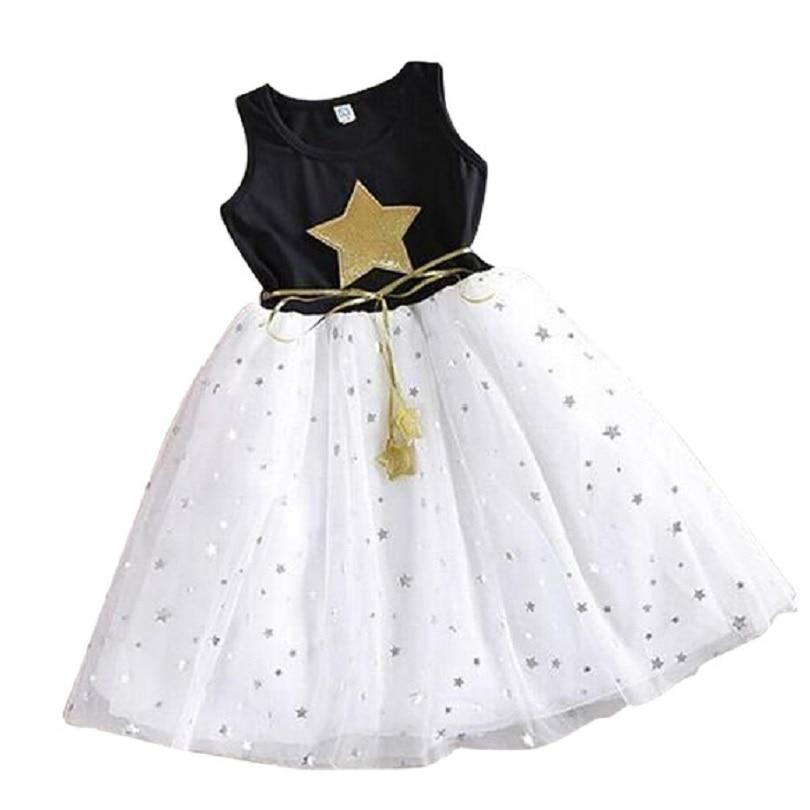 Summer children costume Kids Baby Girls Dress Stars Sequins Tulle Dresses Bow Toddler Tutu Party Princess Dress kids clothes 1