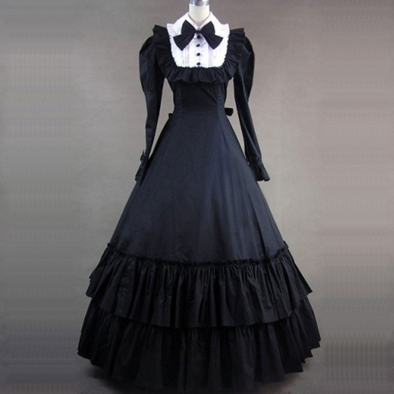 80ab2a9f4cb7 Medieval Retro Black Gothic Victorian Party Dress Cotton Ruffles Bow Marie  Antoinette Masquerade dresses Ball Gowns For Women-in Dresses from Women's  ...