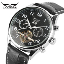 купить JARAGAR Top Brand Luxury Men Watch Business Mechanical Tourbillon Wrist Watches Fashion Casual 2017 New Sport Leather Band Clock по цене 1917.46 рублей