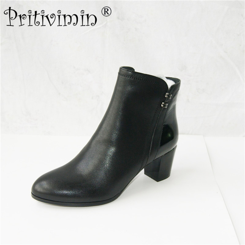 2018 winter women warm short boots laies plush lined ankle boots Ladies genuine leather handmade office shoes Pritivimin FN342018 winter women warm short boots laies plush lined ankle boots Ladies genuine leather handmade office shoes Pritivimin FN34
