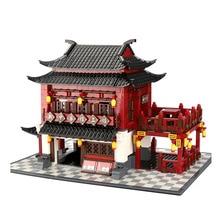 Wange كتل العمارة الصينية القديمة منزل بناء لعبة المكعبات كتل الماس لتقوم بها بنفسك الطوب ألعاب تعليمية للأطفال 6312