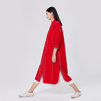 CH060 Original Design Spring And Summer Handmade Weaving Vintage Loose Long Shirt Dress Women Vertical Striped