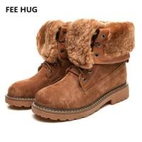 FEE HUG New Winter Style Fashion Boots Genuine Leather Shoes Women Camel Lady Warm Shoe Cross
