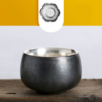 Китайская керамическая тонкая серебряная чашка 999 серебро кунг-фу чайная чашка Тайвань грубая керамика чайная посуда подарок для семьи и др...