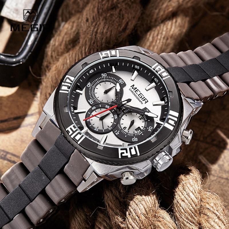 Megir new brand silicone banda analogico cronografo cronometro esercito militare styligh mens orologi top brand di lusso uomini orologio maschile