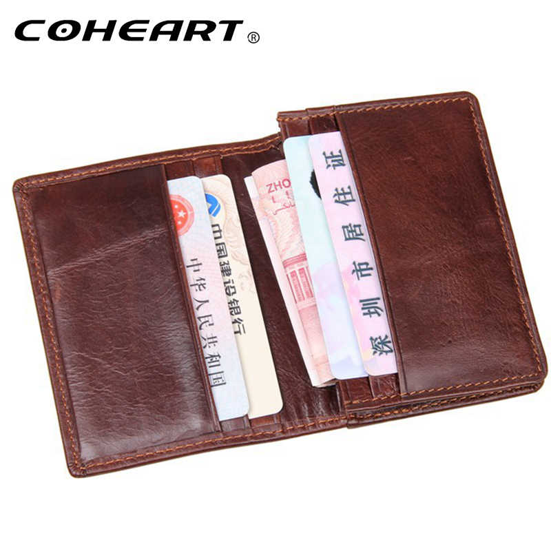 Genuine Leather card wallet fashion  simple style slim ID credit card holder Top Quality small purse card wallets luxury
