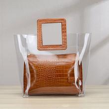 6fcb462cae8d2 Top-Griff Taschen für Frauen Luxus Handtaschen Frauen 2 teile satz  Transparent Candy Mehrfarbige