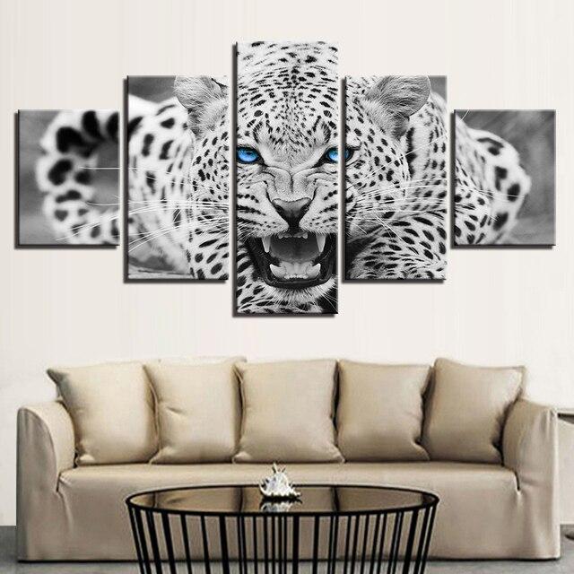 אמנות קיר הדפסי HD תמונות מסגרת 5 Pieces עיניים כחולות ציורי בד נמר נמר בעלי החיים עיצוב בית בשחור ולבן פוסטר