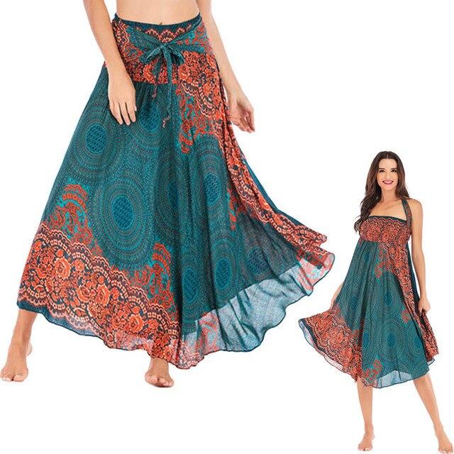 Women Print Floral Long Hippie Bohemian Bandage Skirt Gypsy Boho Lady Lace Up Flowers Elastic Waist Halter Skirt