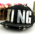 Korean Silver King Letter Baseball Caps Rivet Punk Hip-hop Snapbacks Hats Men Women Adjustable Canvas Panel Horns Casquette