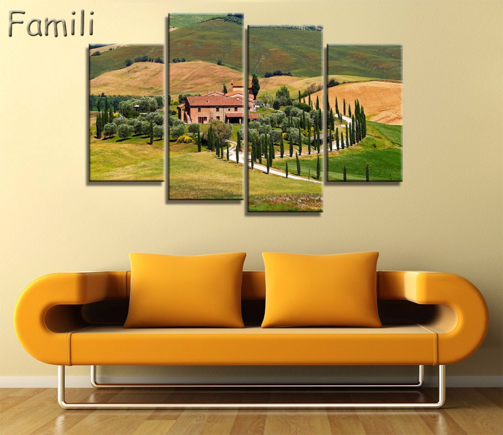 4Pcs Lake And Dolomites Nature Landscapes in Italy canvas fabric ...