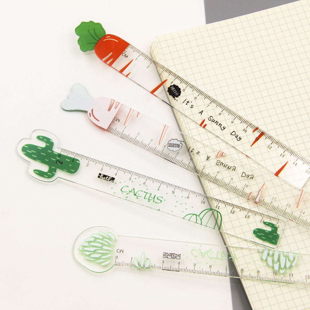 Novelty Cactus Carrot Acrylic Ruler Measuring Straight Ruler Tool Promotional Gift Stationery