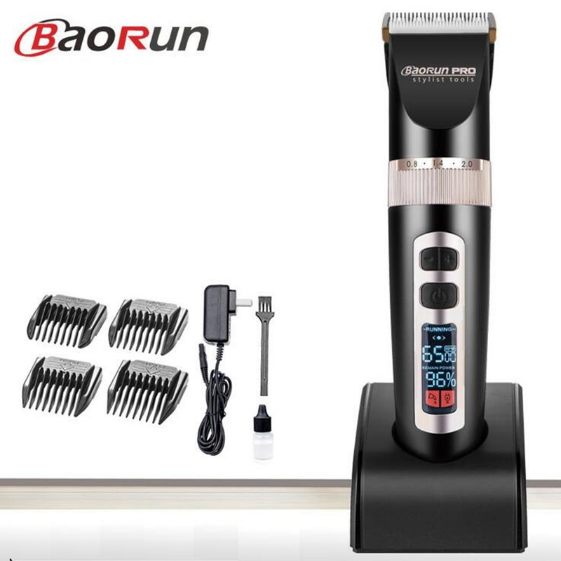 Barber hair clipper professional hair trimmer men electric cutter hair cutting machine tools LCD Display Li