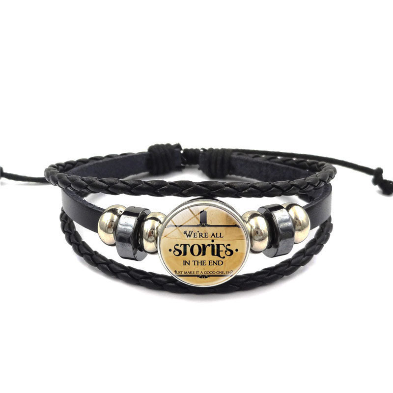 fashion movies mysterious doctor leather hand chain hand decorated with hand-woven beads bracelet kids holiday party gifts