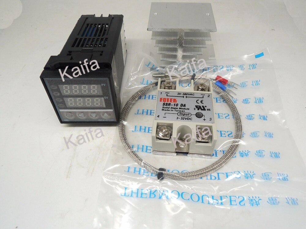 ,Digital PID Temperature Controller Thermostat REX-C100  + 1M K Thermocouple Probe+SSR 10DA+ Radiator ,100V~240V AC  цены
