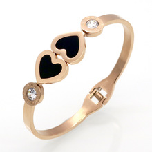 Stainless Steel Plated Roman Number Bracelets & Bangles Wholesale Fine Jewelry Double Peach Heart Love Bracelet Pulseira