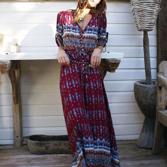 Women Long Maxi Dresses Bohemia V-neck Three Quarter Sleeve Floral Print Ethnic Summer Beach Female Split Stylish Style Dress