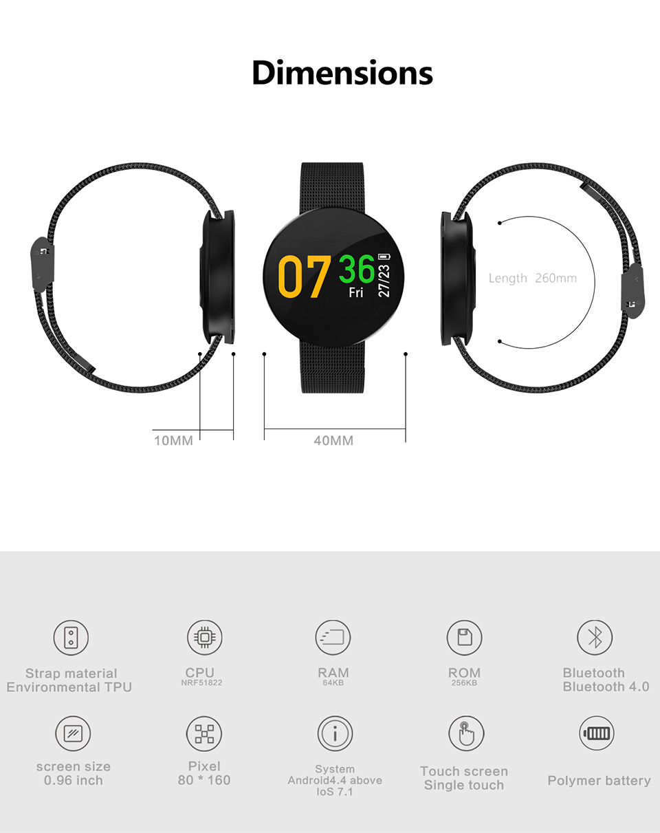 SIKEMEI Fitness Touch Screen Sport Smart Waterproof Smartwatch with Steel Band