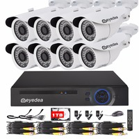 Eyedea 8 CH DVR 2 0MP 5500TVL CMOS Bullet White Outdoor IR Cut LED Night Vision