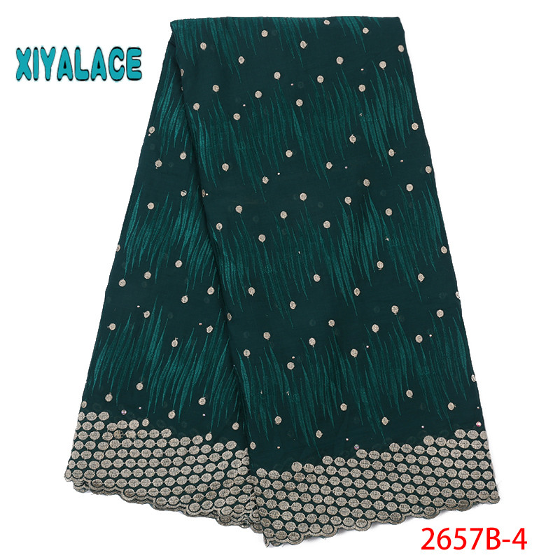 African Lace Fabric 2019 High Quality Lace Voile Lace Fabric New Design Swiss Voile Stones Lace Switzerland Add Stones YA2657B-4