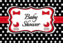 Laeacco Baby Shower Party Black White Dots Poster Banner Pattern Backgrounds Photography Backdrops Photocall Photo Studio
