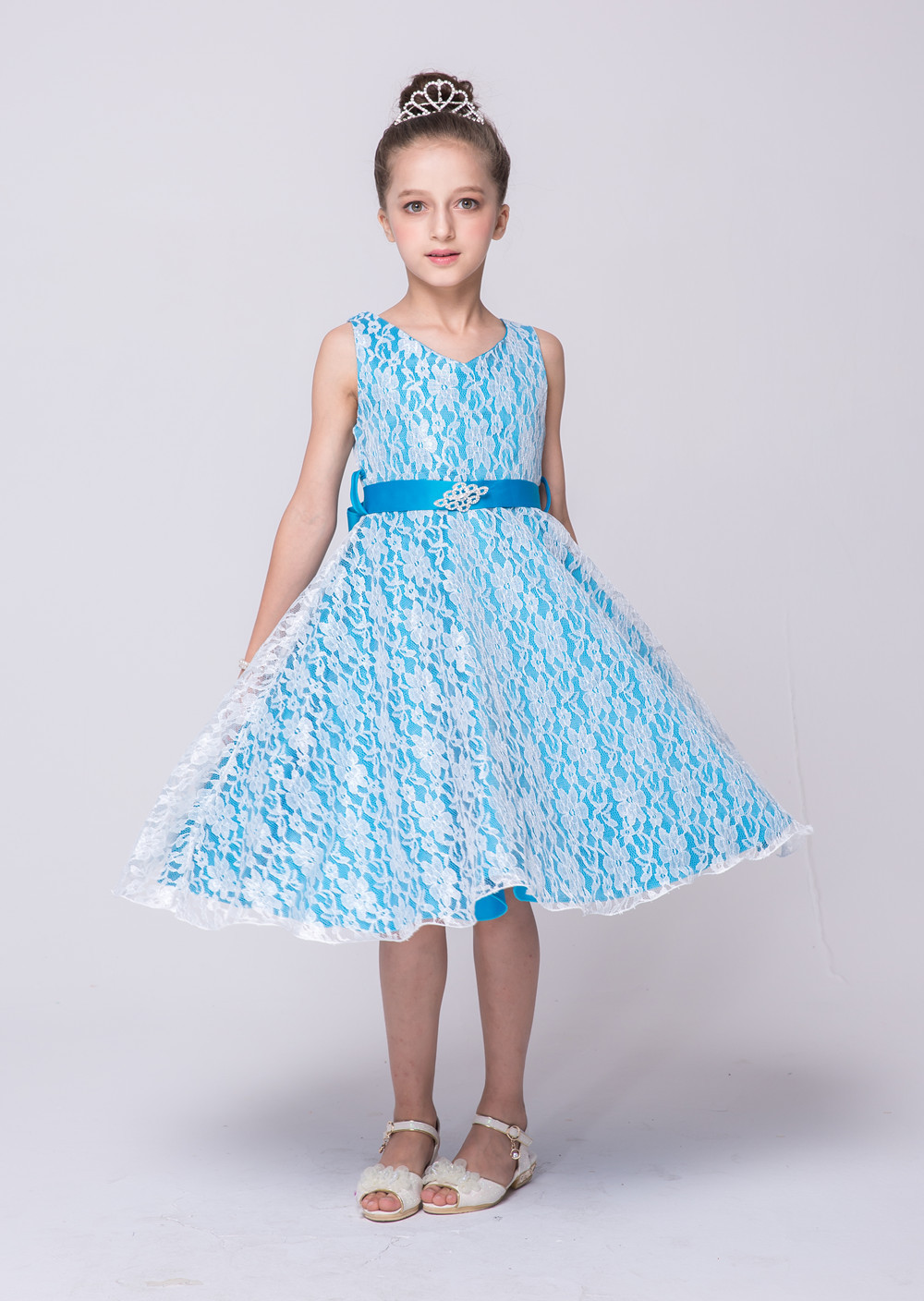 Children Prom Clothes Princess Flower Girl Dress Baby Kids Party Wear Gowns Blue and White Wedding Party Dress Girls цена