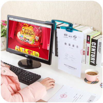 Creative Computer Screen Folding File Folder Clip Monitor File Holder Office Paper Clip Holder