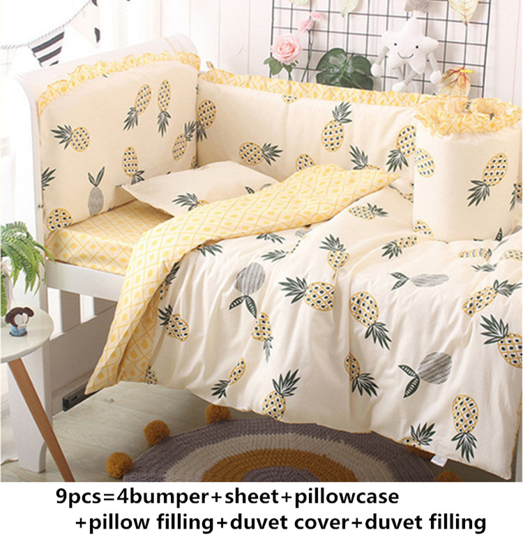 Promotion! 6/9pcs pineapple Baby Crib Bedding set for girls Cot Set Baby Bed Linens Set Newborns blanket whole setPromotion! 6/9pcs pineapple Baby Crib Bedding set for girls Cot Set Baby Bed Linens Set Newborns blanket whole set