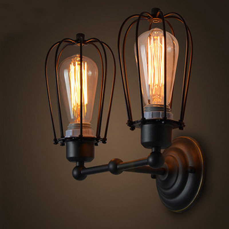 Attic retro double grapefruit wall lamp American rustic wrought iron antique restaurant corridor wall LED wall lamp