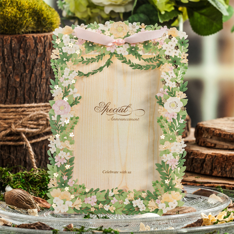 New Personality Green Flower Pink Flower Lace Ribbons Bow Wedding invitations Print Paper Insert Printing Invitation Card Kit colorful white ribbons bow laser cut wedding invitations set blank paper insert romantic printing invitation cards kit