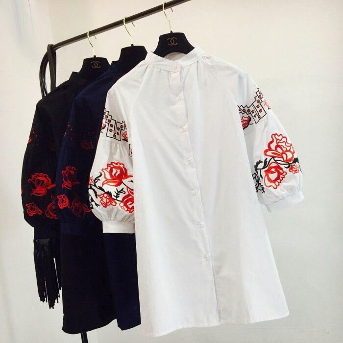 Рубашки женские длинные с вышивкой