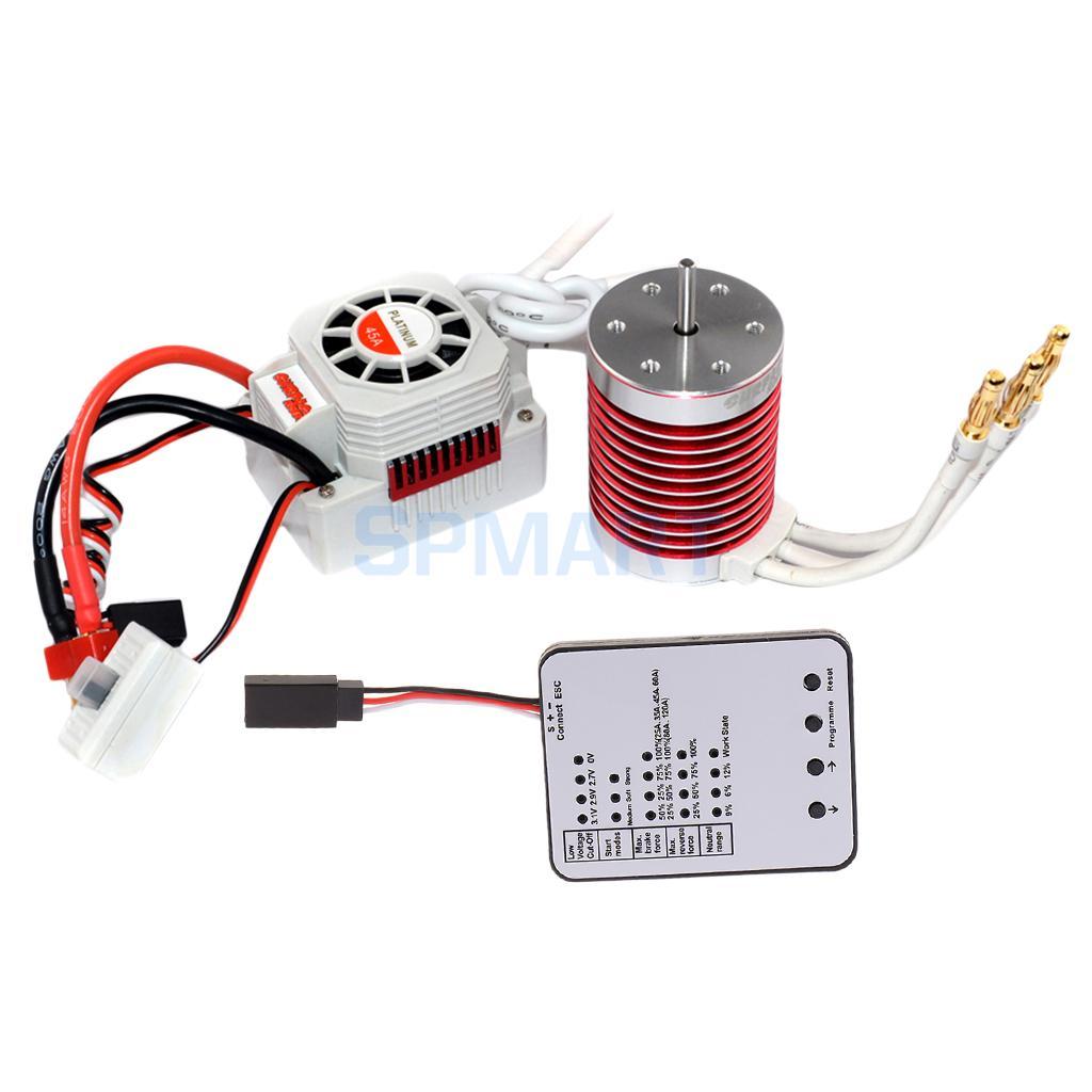 45A ESC+F540 4370KV Sensorless Motor+LED Program Card for 1/10 RC Car Boats Models f540 3930kv brushless motor 45a esc led program card for 1 10 1 12 rc car