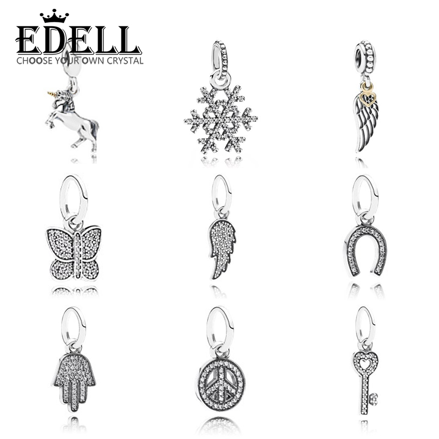 EDELL New Women's Fashion 925 Sterling Silver Jewelry Snowflake Pendant  Necklace Cute Gift Girls Lady y Horse Heart shaped key