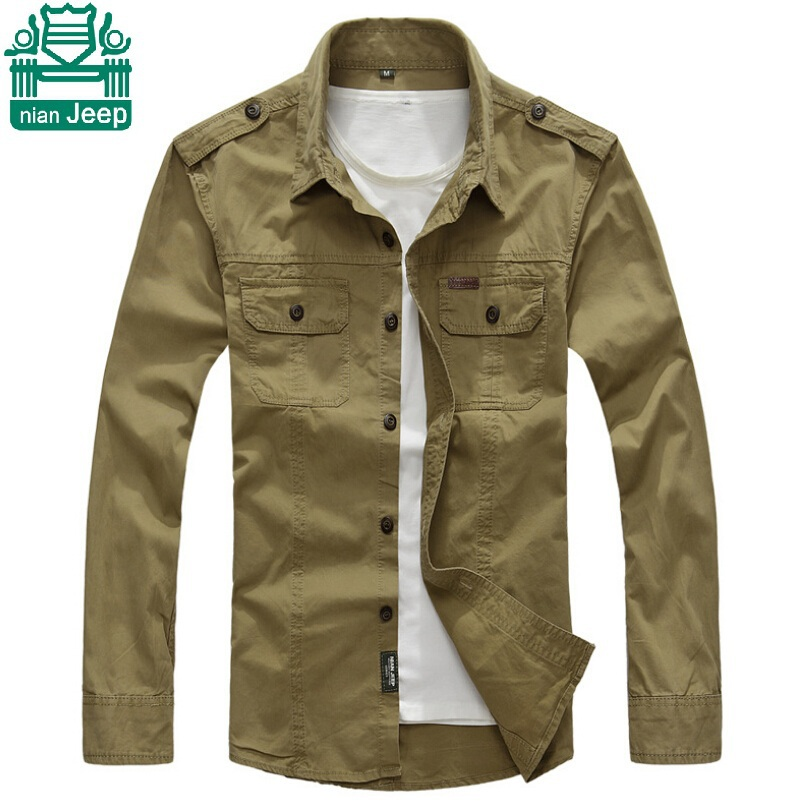 NianJeep Autumn 2015 New 100 Cotton Solid Cargo Shirts Plus Size M TO 3XL casual Working