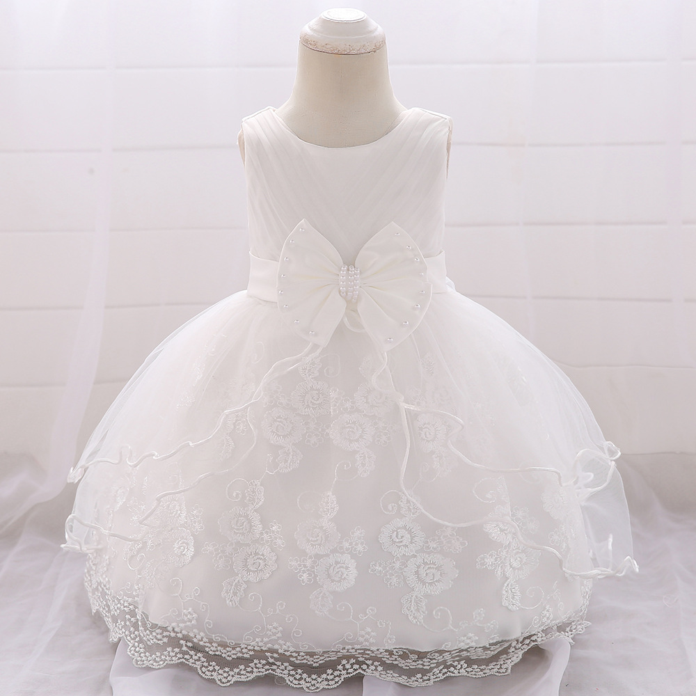 Baby 20 Birthday Tutu Dress 20 20 20 202 208 20 Months Flower Embroidery New  White Party Princess Costume Toddler Girl Clothes 20M20B