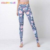 Colorvalue 3D Digitial Mignon Imprimé Yoga Pantalon Femmes Sretchy Taille Haute Fitness Leggings de Bonne Qualité Athletic Running Collants