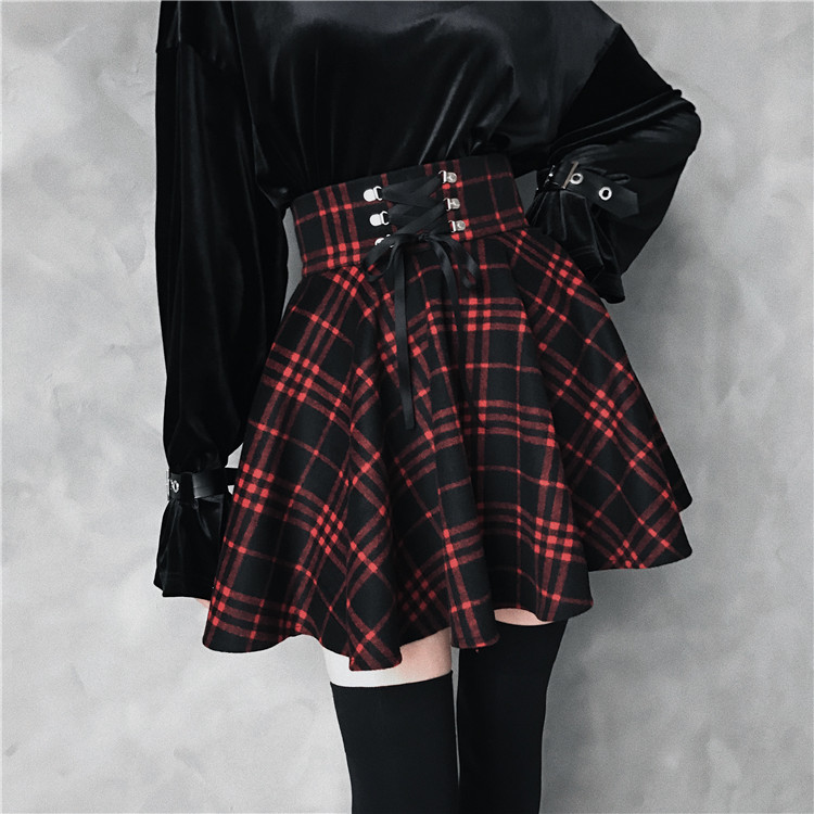 2019 New Gothic Girls Summer Black <font><b>Red</b></font> <font><b>Plaid</b></font> <font><b>Skirt</b></font> <font><b>Women</b></font> High Waist A-Line Lace-Up Lacing Mini Short <font><b>Skirt</b></font> Plus Size 4XL image
