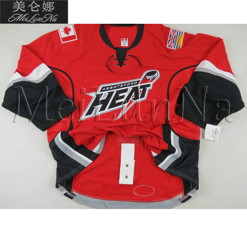 MeiLunNa Custom AHL Abbotsford Heat Hockey Jerseys 47 Sven Baertschi 29 TJ Brodie 11 Quintin Laing Home Road Sewn Any Name NO.