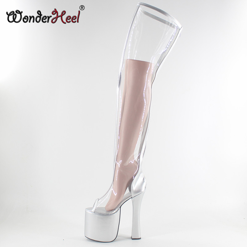 Wonderheel  Extreme High Heel 20cm Chunky Heel Peep Toe Silver Platform Transparent Shaft Thigh High Boots Fashion Show Boots
