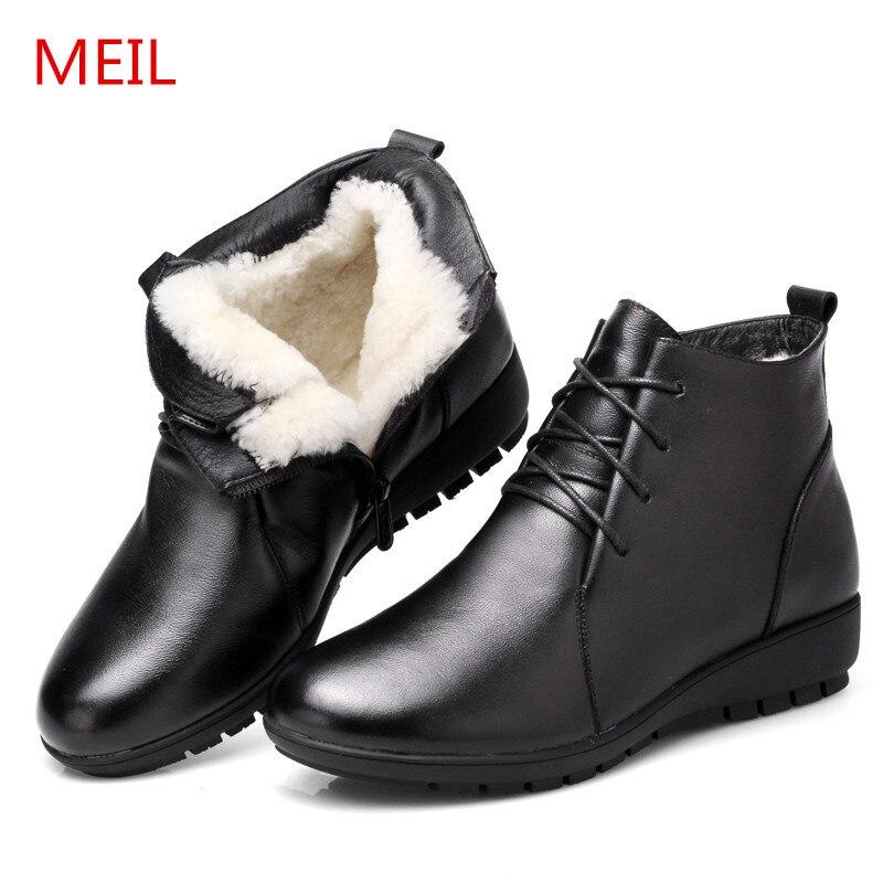1 Lana Nieve Mujeres Zapatos Genuino Botas Señoras 3 Invierno Mujer De Cuero Las 2 Botines 4 Para Negro PYX6S