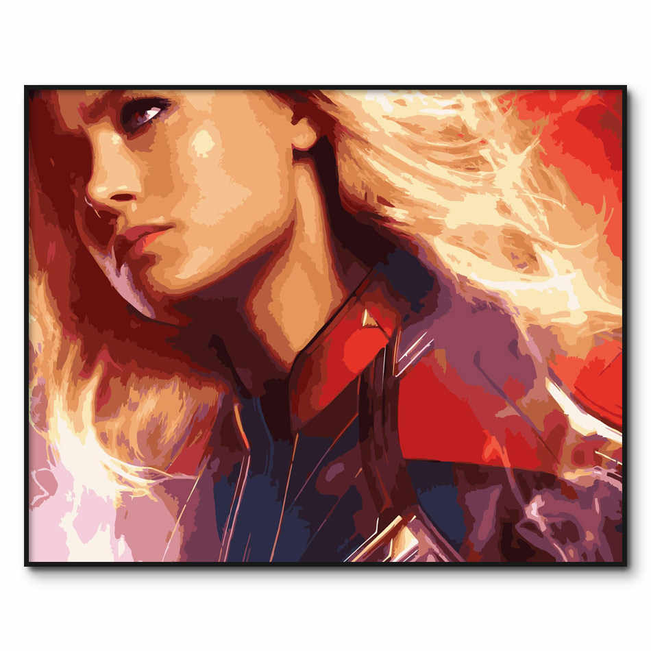 Captain Marvel Poster Painting By Numbers Framed Acrylic Paint By Number Kits Movies Coloring By Number Home Decor