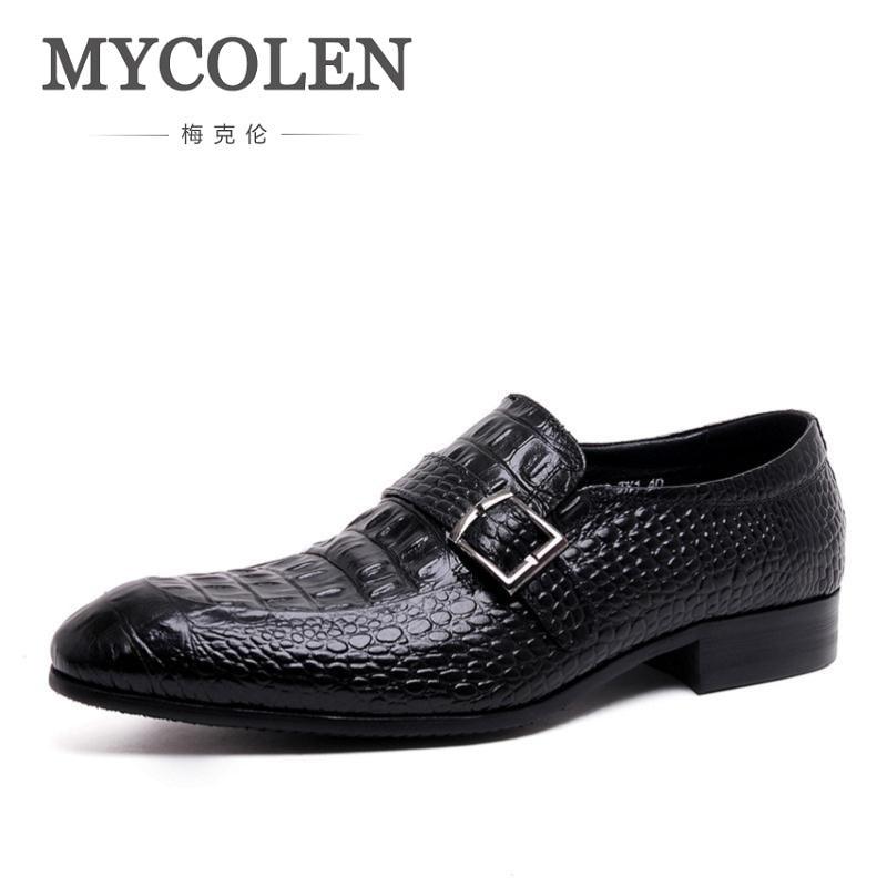 MYCOLEN Luxury Mens Shoes Genuine Leather Black Formal Men Dress Shoe For Wedding Party Buckle Business Classic Men Flat Brown все цены
