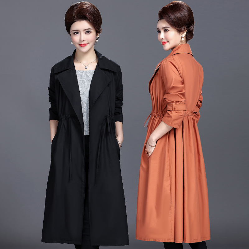 Plus size Ladies   Trench   Coat 2019 Spring Long Windbreakers Womens Casual Loose Middle-aged Clothing Fashion Overcoat Women 5XL