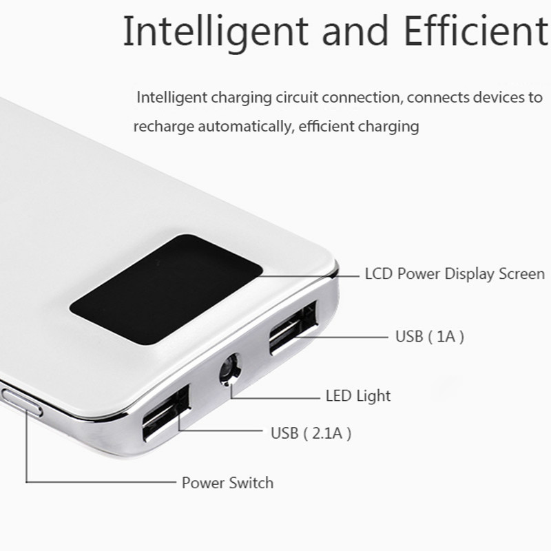 power bank 20000mah External Battery quick charge Dual USB LCD display powerbank portable charger for iPhone X Samsung xiaomi