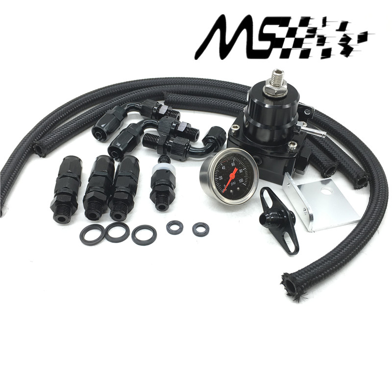 Adjustable Fuel Pressure Regulator Kit FRP Fuel Pressure Regulator Dengan Gauge / 6AN Hose / Oil Hose End Fitting Adapter