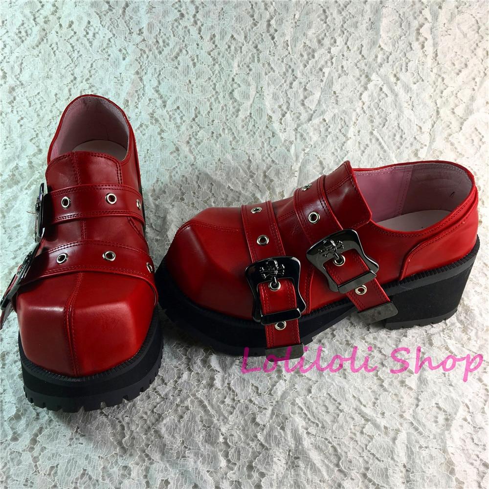 Princess punk Lolita Shoes Lolilloliyoyo Antaina Japanese Design Shoe Custom Thick Bottom Wine Red Shoes with Belt buckle 9100-2 leaf design buckle belt