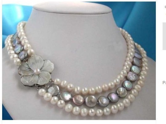100% Selling full Real pearl & coin pearl necklace&shell flower clasp