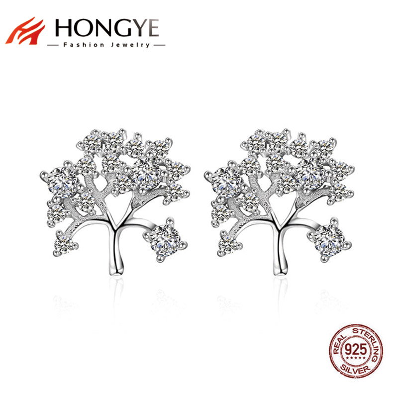HONGYE Retro Vintage Ears Full Crystal Rhinestone Tree of Life Stud Earrings Girls Christmas Gift 925 Sterling Silver Jewelry