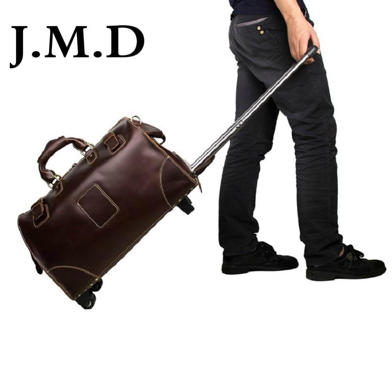 J.M.D 2017 New Arrival 100% Men's  Cow Leather Drawbars Travel Bags Handbags 7315 20222426 drawbars